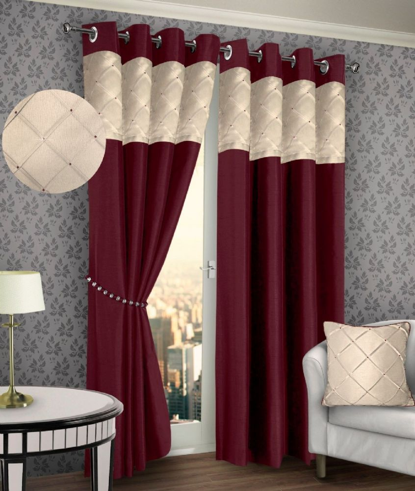 RING TOP EYELET LINED PINTUCK CURTAINS FAUX SILK BURGUNDY & CREAM COLOUR